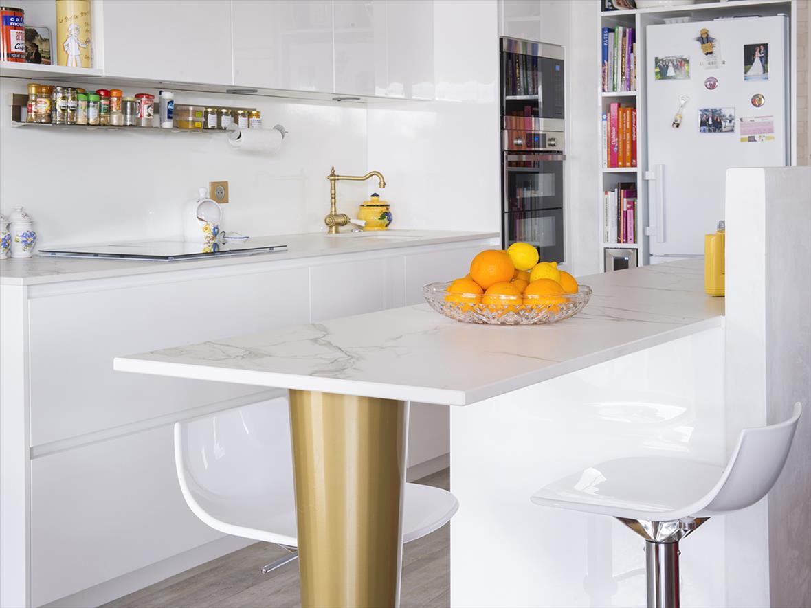 cuisine moderne blanc et marbre